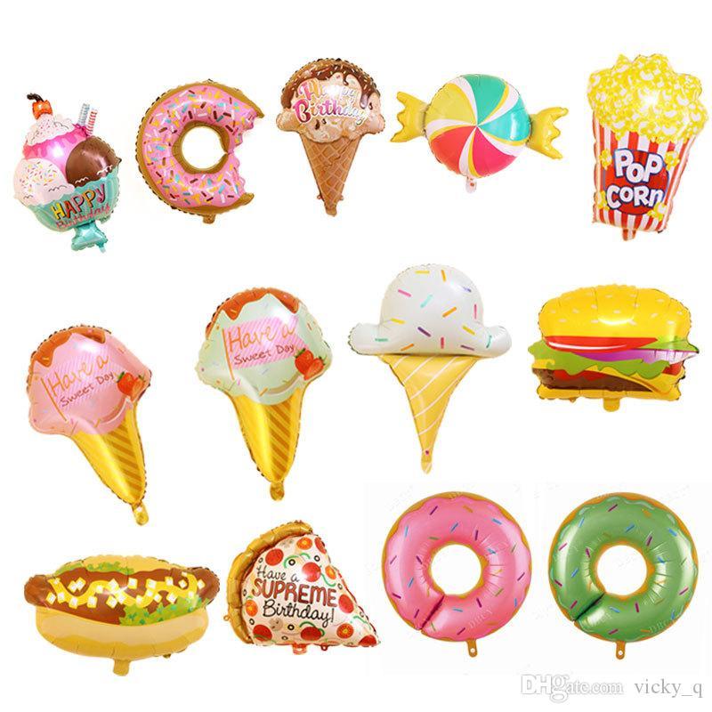 Große Dessert Folienballon Cartoon Eis Donut Hamburger Pizza Hot Dog Bunte Lebensmittel Dekoration für Geburtstagsfeier Kinderzimmer