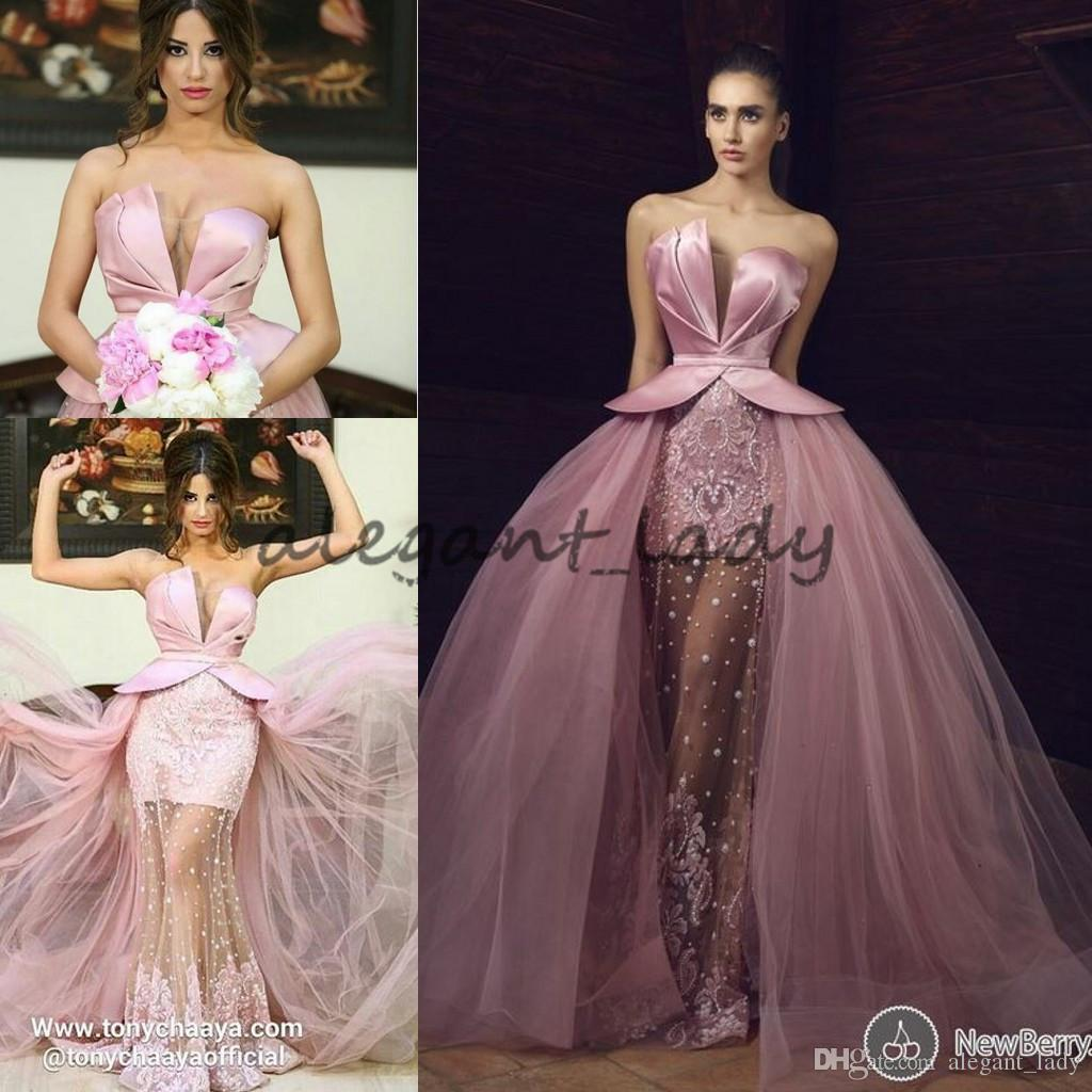 Sweetheart Pink Lace Stain Prom Pageant Dresses with Overskirt 2018 Tony Chaaya Puffy Skirt Princess Middle East Occasion Evening Wear Gown