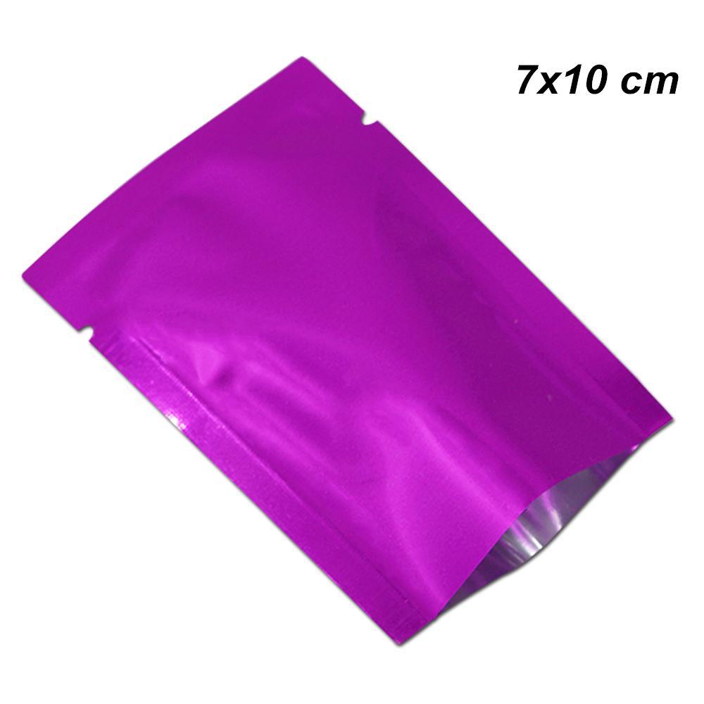 7x10 cm 200pcs Cor Púrpura folha de alumínio Mylar Leakproof Plano Wraps Vacuum Bag com entalhes lágrima por vácuo Spice Open Top Folha Bolsas