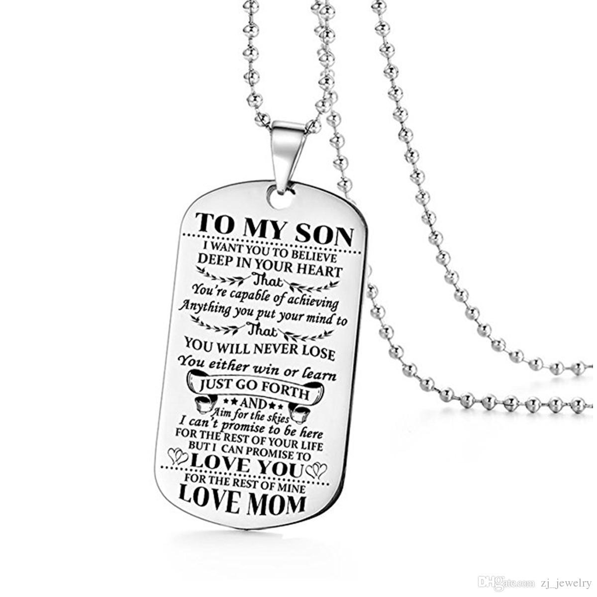 Aço inoxidável colar mãe filho pingente de jóias masculino eu quero que você acredite amor mãe dogtag
