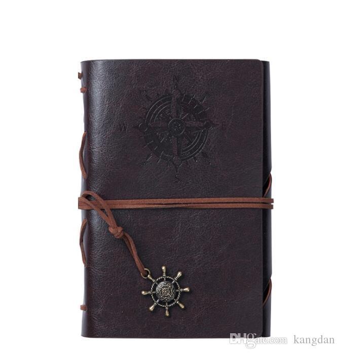Quaderno a spirale A5 Notebook Traveler Journal Diario libro Vintage Pirati Ancore Pu Note in pelle Puffetto di carta di vacchetta Block regalo di Natale