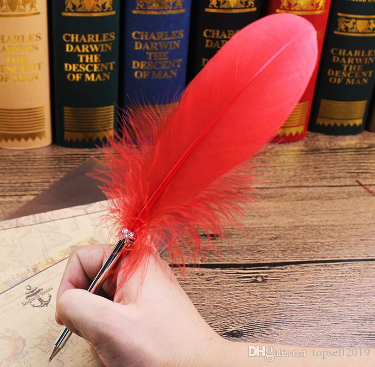 الأزياء ريشة الريشة قلم 14 ألوان أقلام ل هدية الزفاف مدرسة مكتب الكتابة المورد 100 قطع SN427
