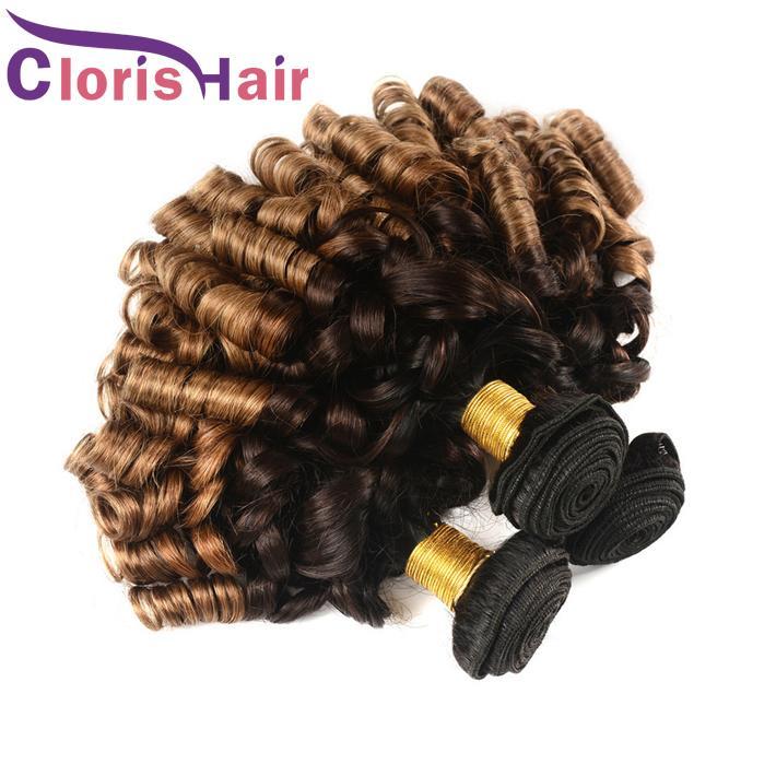 Colorato 1B 4 30 Ombre Bundle per capelli Nigeria Aunty Funmi Vergine peruviana Estensioni dei capelli umani 3 Tone Blonde Primavera Riccia Tissage Ombre Tesse