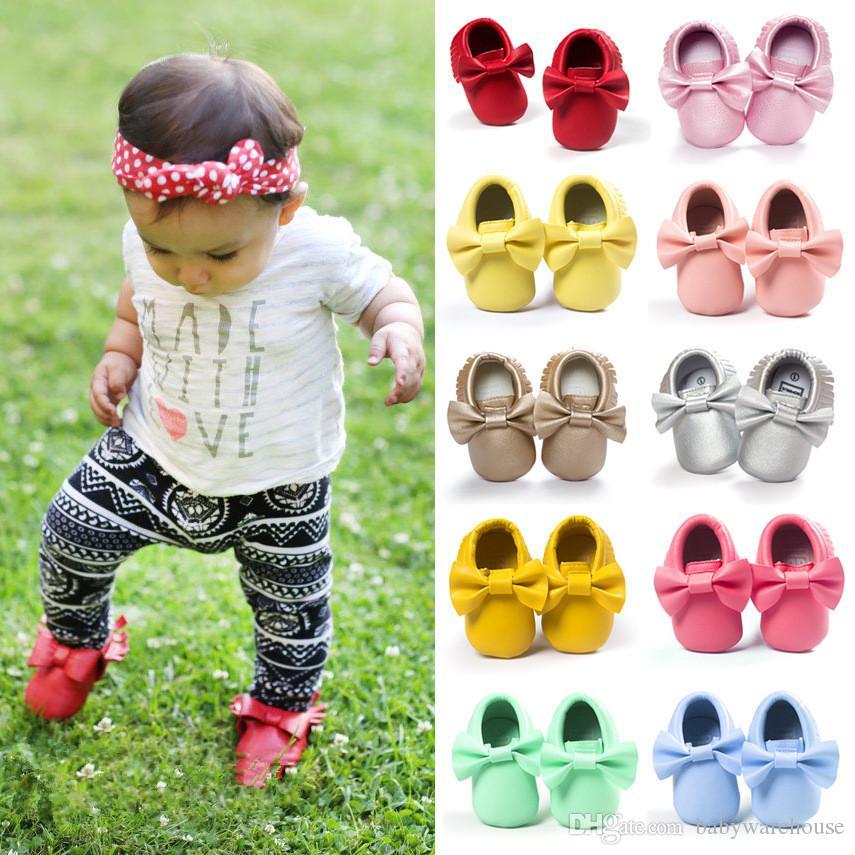 Toddler Baby Shoes PU Leather Bowknot Newborn Baby Boy Girl Moccasins Soft Shoes Fringe Soft Soled Non-slip Crib First Walker Prewalker