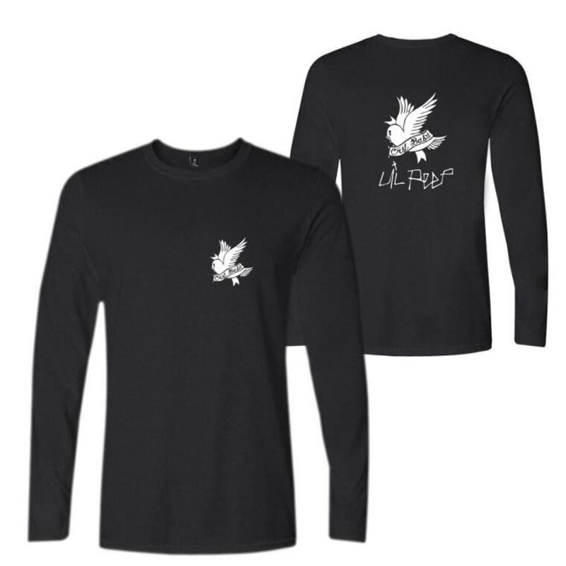 R.I.P Lil Peep Rock e Roll Men Música Camisetas de Algodão de Manga Longa O-pescoço Camiseta Hip Hop Rap Homens T-shirt Roupas Masculinas 4XL