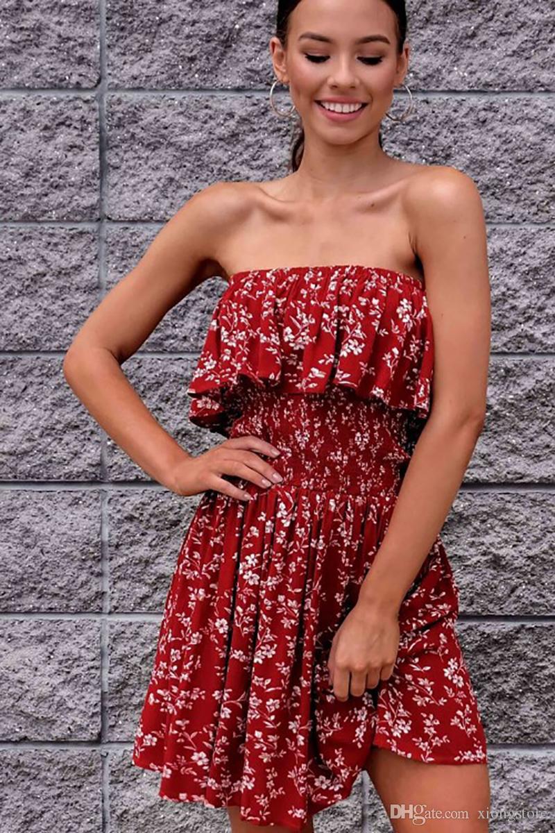 Bohemian Kırmızı Baskı Elbise Kolsuz Straplez Ruffles Seksi Plaj Parti Elbise Vestidos de dresses Zarif 2019 Kapalı Omuz Yaz Elbiseler