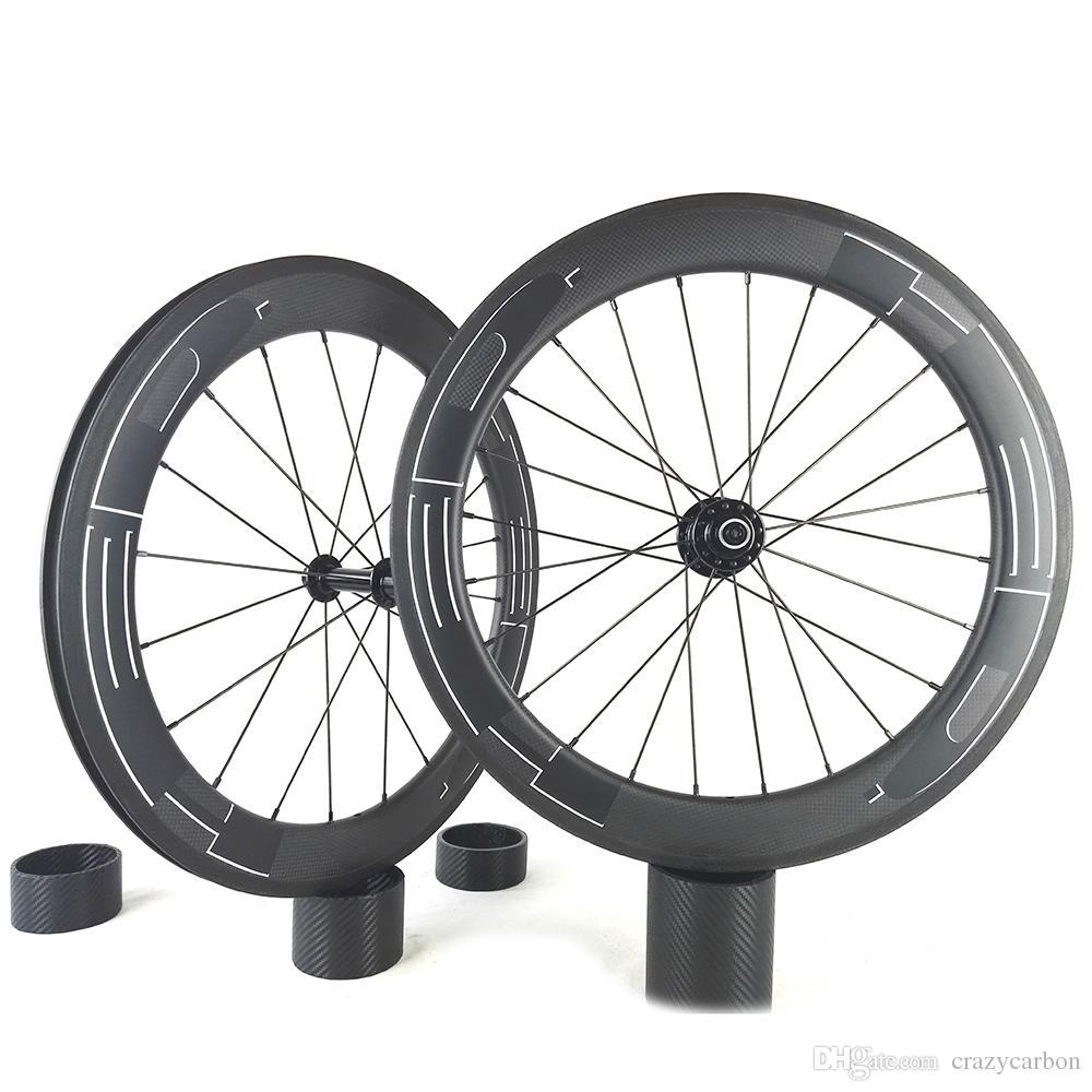12K / 3K / UD 60MM U / V 모양 토리 전체 탄소 바퀴 60mm Clincher / 관형 도로 자전거 탄소 바퀴 700C 도로 자전거