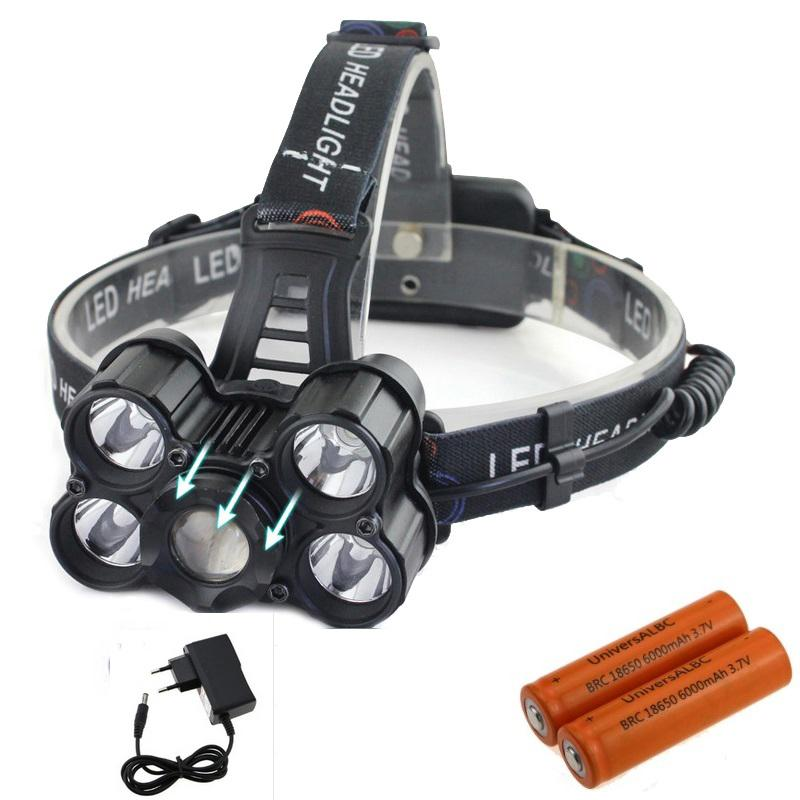 Waterproof Led Headlight 10000 Lumen 5x XML T6 Led Bike Headlamp 18650 Battery Bicycle Light Rechargeable For Cycling