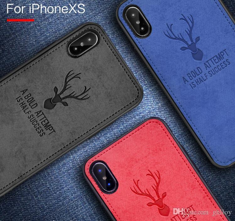 Étui en tissu de cerf pour iPhone XS MAX XR X 7 Plus la couverture pour l'iphone 6s plus arrière antichoc étuis souples nouvelle vente chaude couverture 50pcs