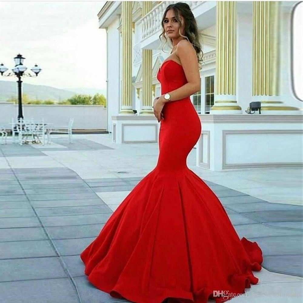 2018 Red Mermaid Long Elegant Evening Dresses Sweetheart Sleeveless Zipper Back Celebrity Prom Formal Gowns Party