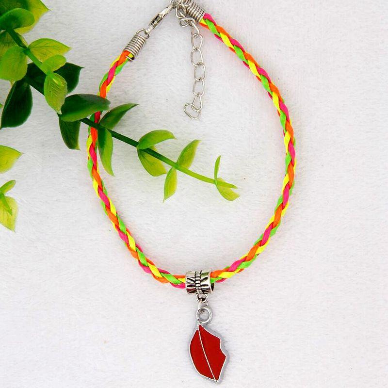 Hot 50pcs/lot Zinc Alloy Drop Glaze Lipstick Charm Pendant 20+5CM Color Braided Rope Bracelet Women&Men Jewelry Accessories Holiday Gift