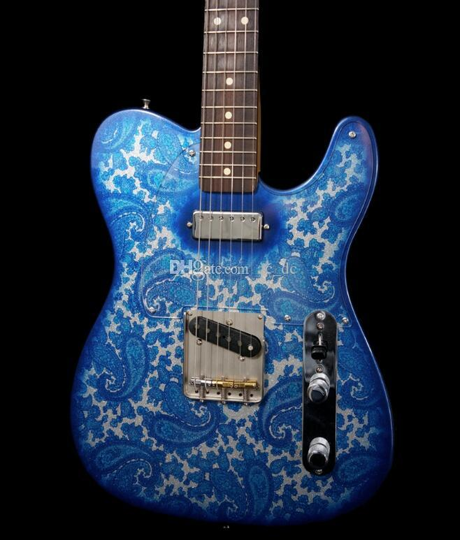 Crook Custom Brad Paisley Signature Tele Blue Sparkle Paisley Guitarra Eléctrica, Mini Humbucker Pickup, Clear PickGuard, Sperzel Locking Sintonizadores