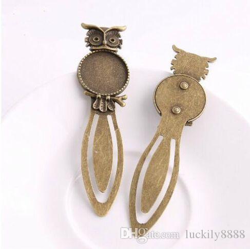 20 pezzi / lotto bronzo antico cammeo segnalibri in acciaio gufo impostazioni cabochon rotondi gioielli charms vuoto 28x83mm