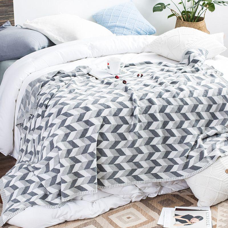 Algodón de raya Invierno Mantas de punto para cama Sofá A cuadros Manta suave Niños Manta cálida Tejidos para niños Ropa de cama para adultos TV Manta gruesa
