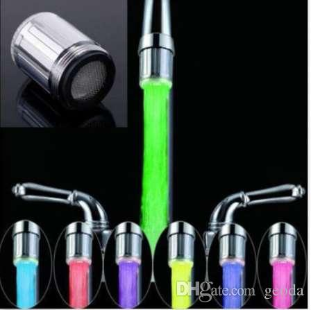 LED Water Faucet Stream Light 7 Colors Changing Glow Shower Stream Tap Head Pressure Sensor Kitchen Bathroom Accessory
