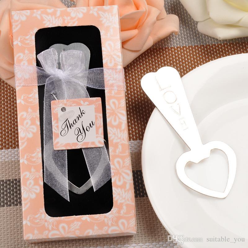ADEDI: 10 ADET Düğün Hatıra Kalp Şekli Aşk Desen Şişe Açacağı Kutusu ve Teşekkür Kart Ile Parti Düğün Hediye Için