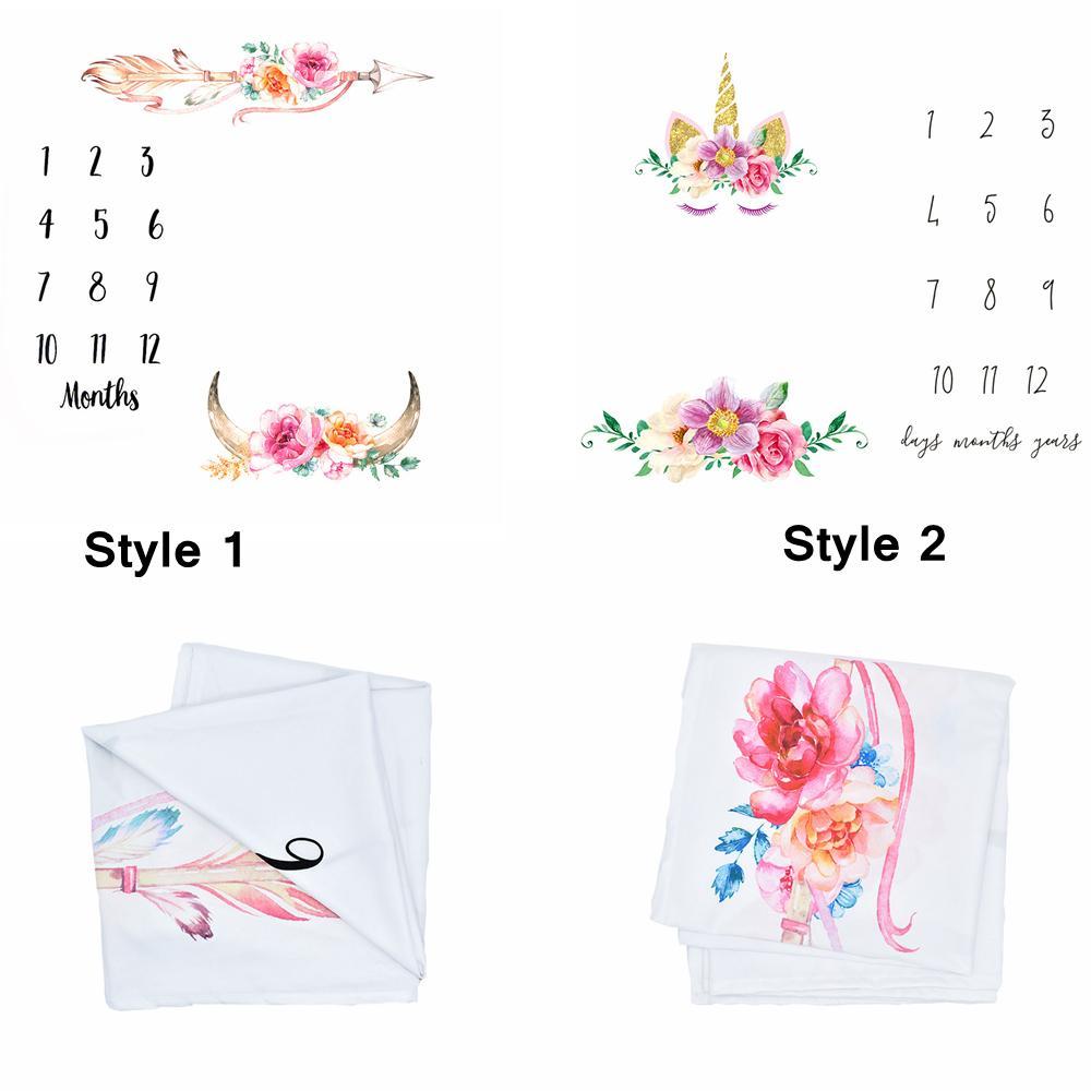 100 cm Licorne Photographie Couvertures Nouveau-Né Bébé Fleur Wrap Fond Accessoires Photo Prop Backdrops Pâques Infant Couverture Souple AAA754