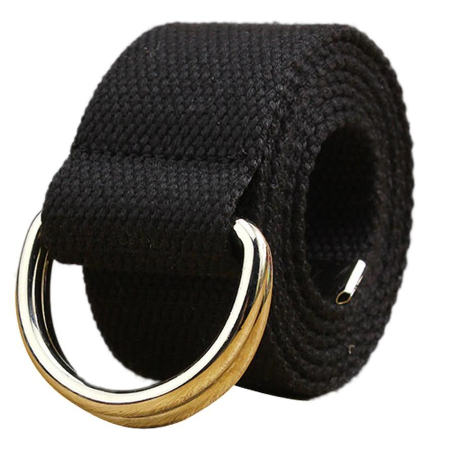Women Mens Canvas Belts Waistband Double Loop Buckle Webbing Waistbands Straps