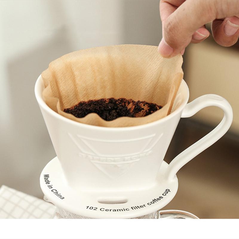 Preferenza 100 pc / sacchetto di legno mano originale Drip Paper Coffee Filter Filtro Caffè espresso Packs Bustina di tè Colino del tè verde Infuser