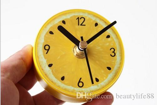 شاعري الليمون فاكهة الثلاجة ساعة الأزياء الإبداعية الليمون الثلاجة ساعة رسالة المغناطيسي الشائكة ساعة الحائط