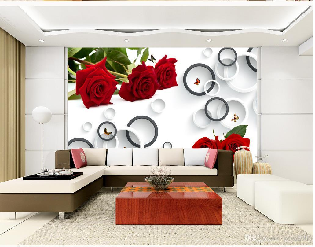 3d Wallpaper Living Room Fashion Rose 3d Ring Tv Background Wall ...
