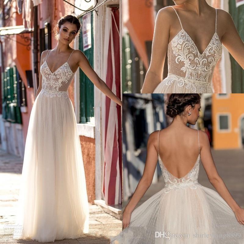 Nova Praia Vestidos de Casamento Brdial Vestidos de Cintas de Espaguete Sem Mangas Robe De Soirée Sem Encosto Longo Vestidos de Casamento Boho