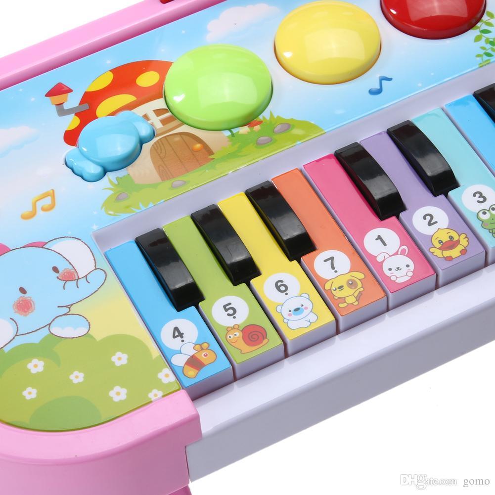 14 Tuşlar Elektronik Piyano Klavye Oyuncak Çocuklar Yanıp Sönen LED Işık Müzikal Oyuncak Hediye Erkek Bebek Kız Çocuk Öğrenme Egzersiz Piyano