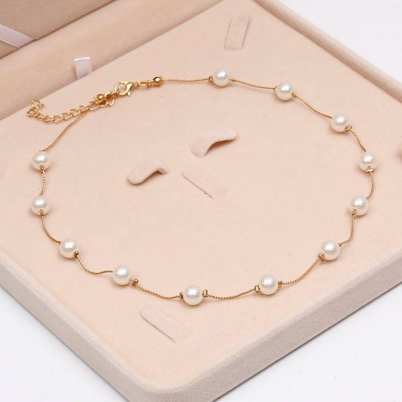 Collar de perlas simulado de calidad superior Anti-alergia Collar de declaración de color oro al por mayor cadena de joyería al por mayor de la perla