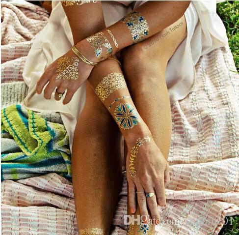 new Trendy Color feathers Jewel Körperbemalung Metallic Tattoos Henna Paste Arabic Gold Flash Körperbemalung Glitter