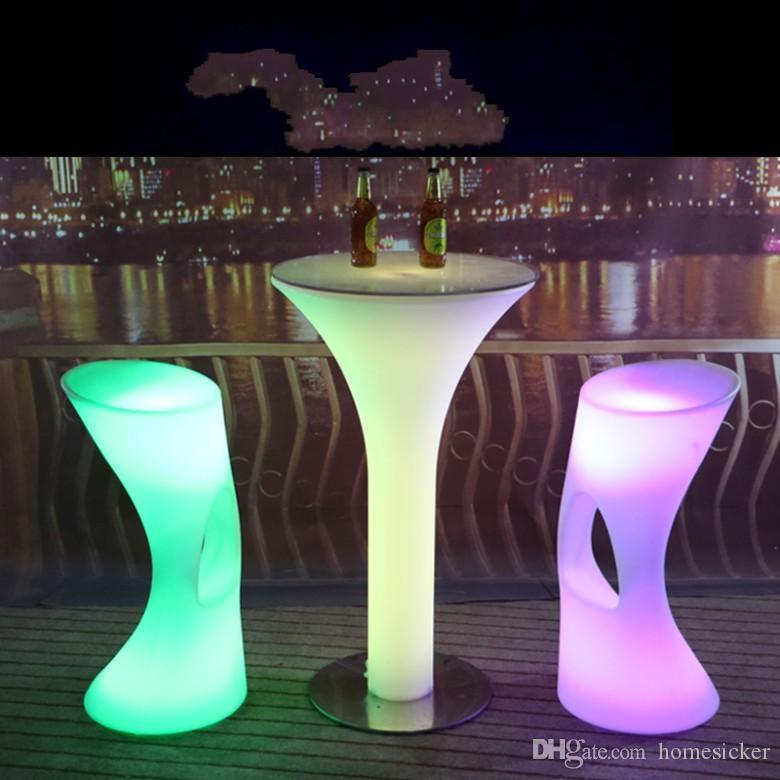 Led Table Bar Furniture 16 Table de barre d'éclairage changeante de couleur pour la fête (D60 * H105cm) Livraison gratuite