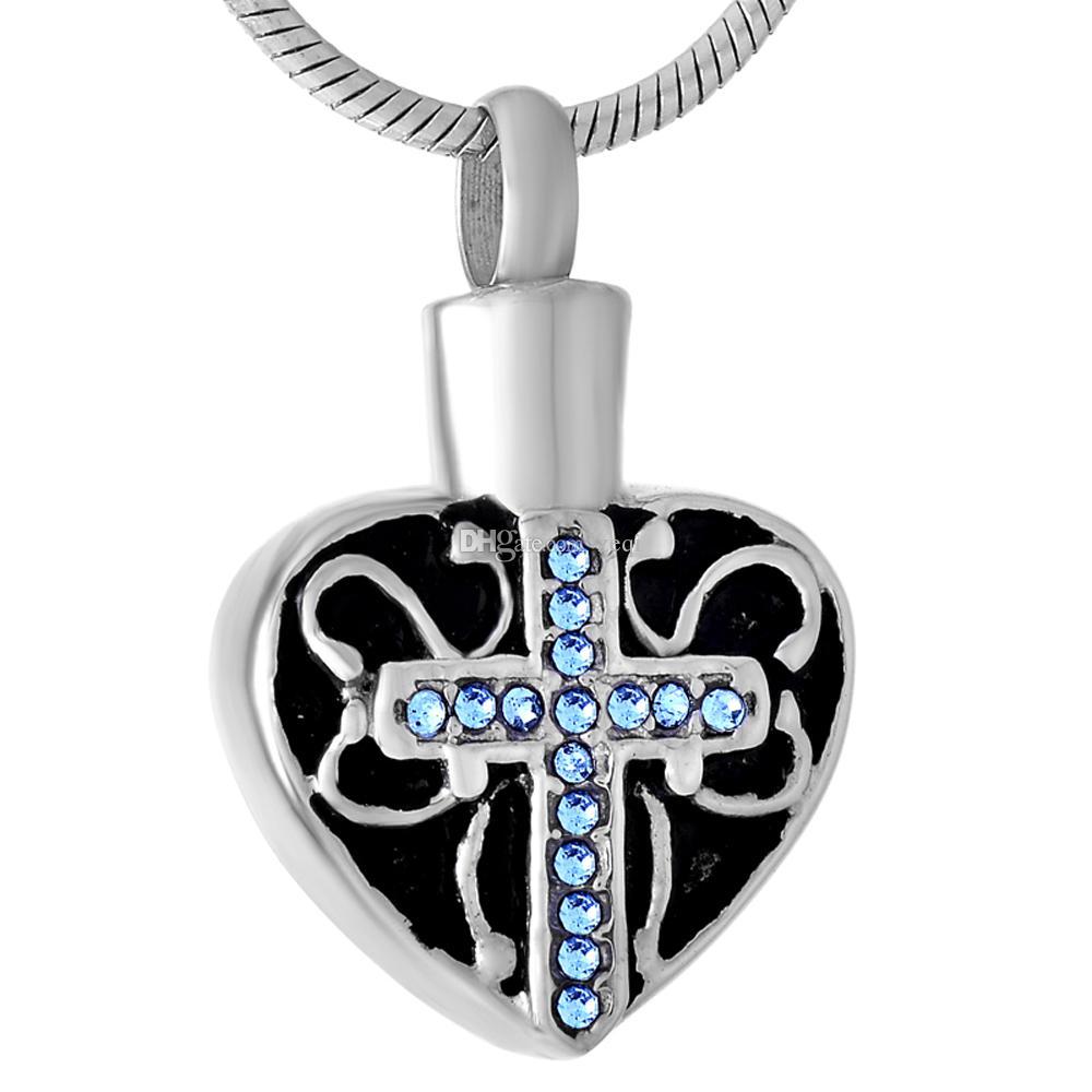 Hurtownie Memorial Cross Naszyjnik z Rhinestone Ze Stali Nierdzewnej Naszyjnik Urn Dla Ashes Memorial Pachses Ashe Jewelry