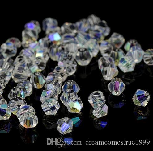 500 قطعة / الوحدة الأبيض ab bicone النمسا الأوجه زجاج كريستال فاصل الخرز سحر لصنع المجوهرات 4 ملليمتر 6 ملليمتر 8 ملليمتر