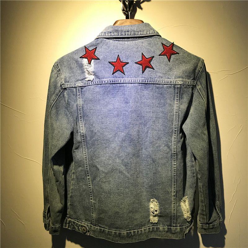 Star Brand Men's 2021 en calidad Red Moda Jeans Jackets Streetwear Fit Casual Slim High Denim Bordado Chaqueta Jean Ropa McVJN