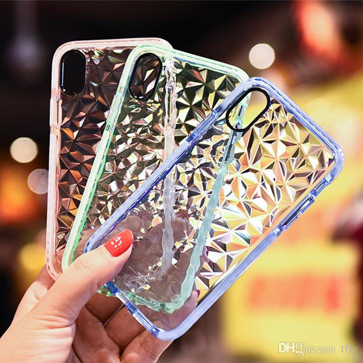2018 Diamant Muster Transparent Bunte TPU Handy Fall Stoßfest PC Abdeckung für iPhone XS MAX XR X 6 7 8 Plus Samsung S9 S8 Plus