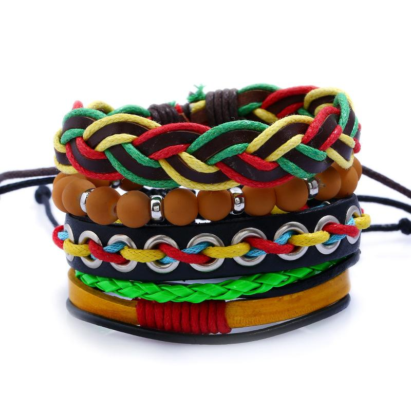 CHAOMO Fashion Personality Bracelet Handmade Red and Yellow Green Ornaments Punk Rock Leather Braid Ornaments Cool Gifts