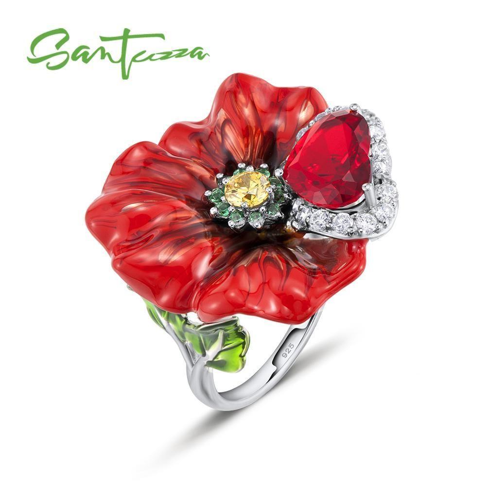 Santuzza Silber Blume Ringe für Frauen 925 Sterling Silber Kreative Rote Rose Blume Ring Modeschmuck Handgemachte Email D18111306
