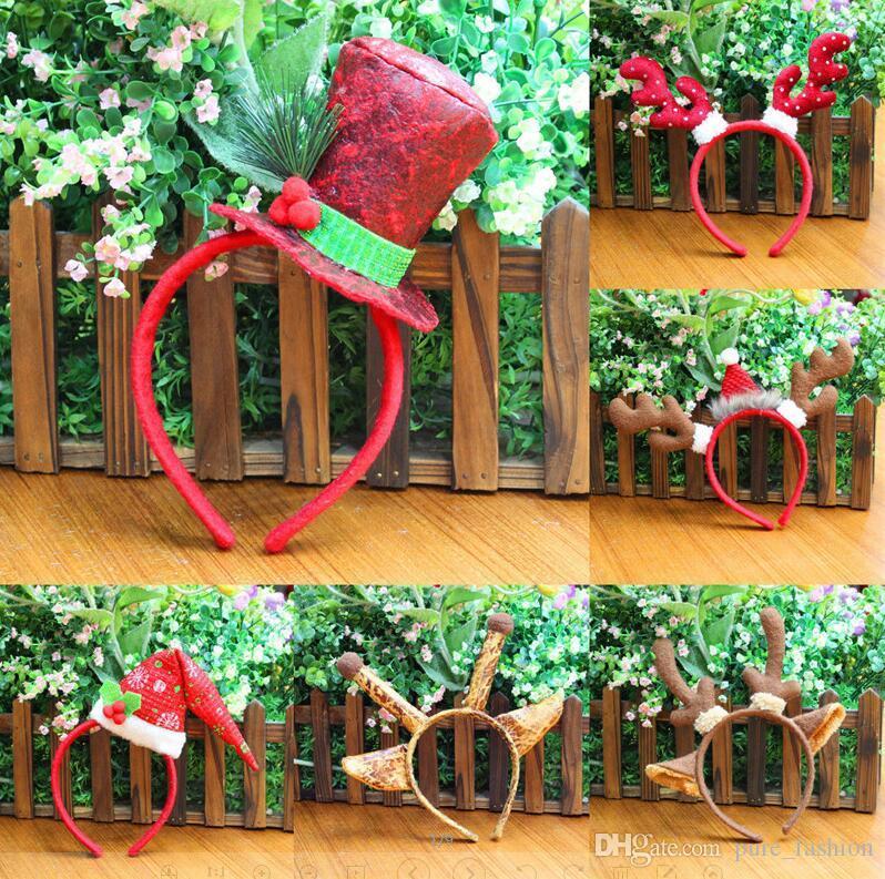 10pcs / lot 6 tarzı Yetişkin Çocuk Noel Kafa Santa Zürafa Antlers Noel parti dekor Çift Saç Bandı toka Başkanı Hoop