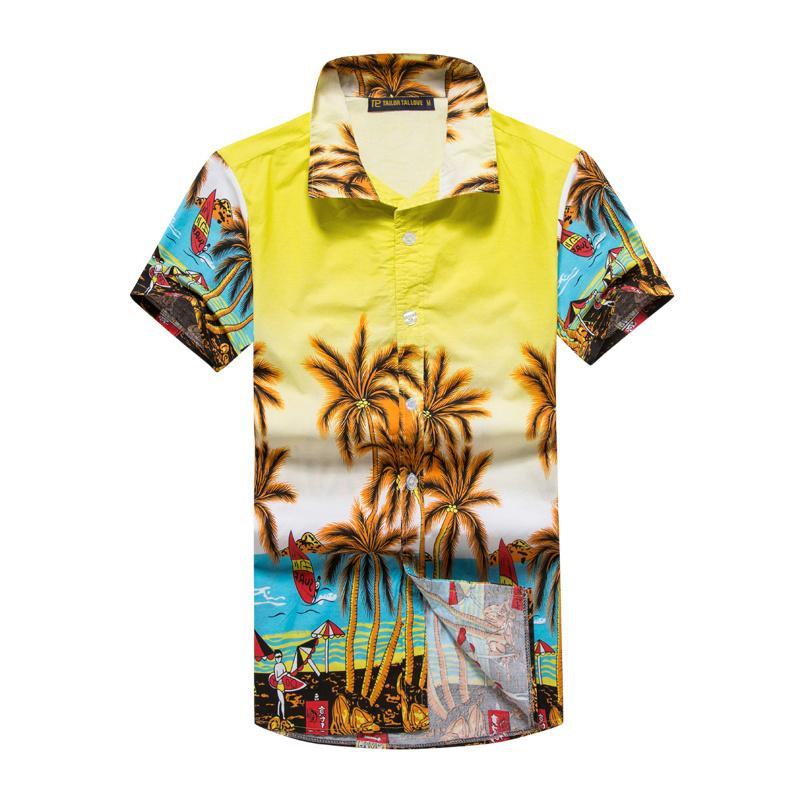 Mens Hawaiian Shirts Short Sleeve Tropical Palm Shirts Men Summer Fancy Beach Shirts Men Holiday Party Clothing Size M-5XL