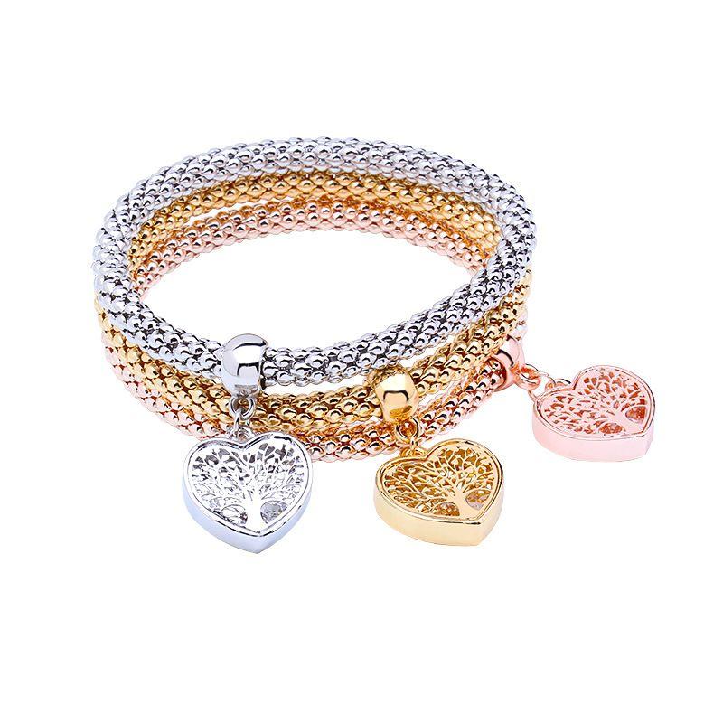 10 sets = 30 Stücke Baum des Lebens Armband Popcorn Eule Herz baumeln Charme Armbänder Für Frauen Pulseria Feminina Boy Girl Schmuck