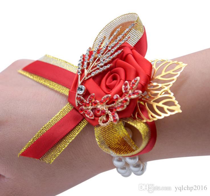Suministros de boda estilo chino tradicional novia y novio simulación flor dama de honor padrino de boda broche