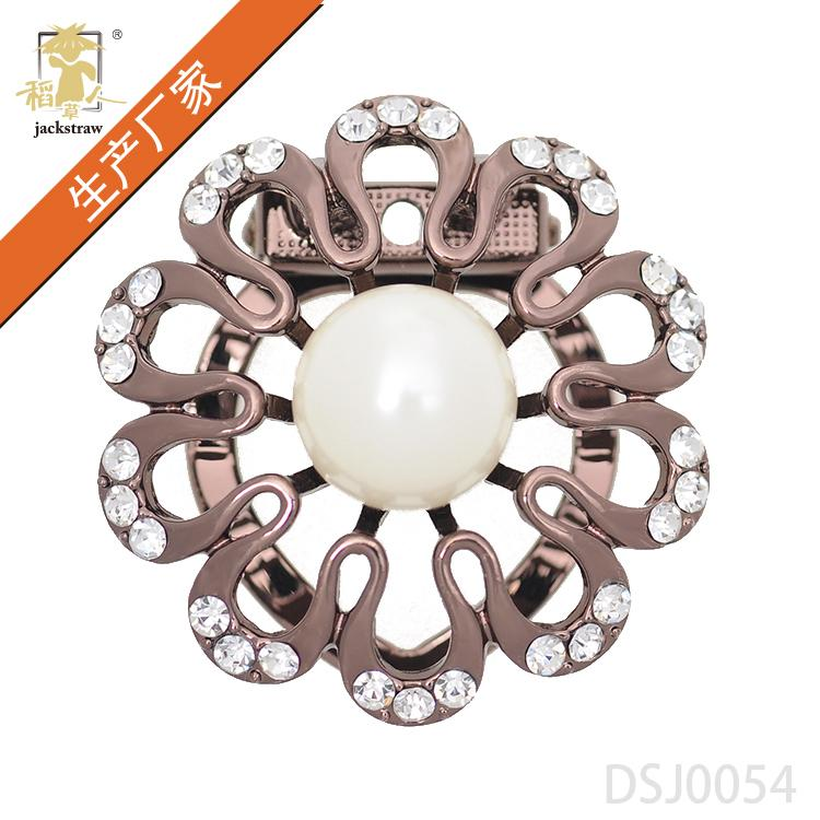 Classic beauty coffee gold water diamond pearl scarf buckle high-end atmosphere lady BROOCH SCARF button manufacturer