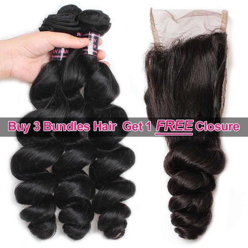Ishow Hair Big Spring Sales Promotion Buy 3 Bundles Brazillian Loose Wave Unprocessed Peruvian Human Hair Get One Free Closure Free Part