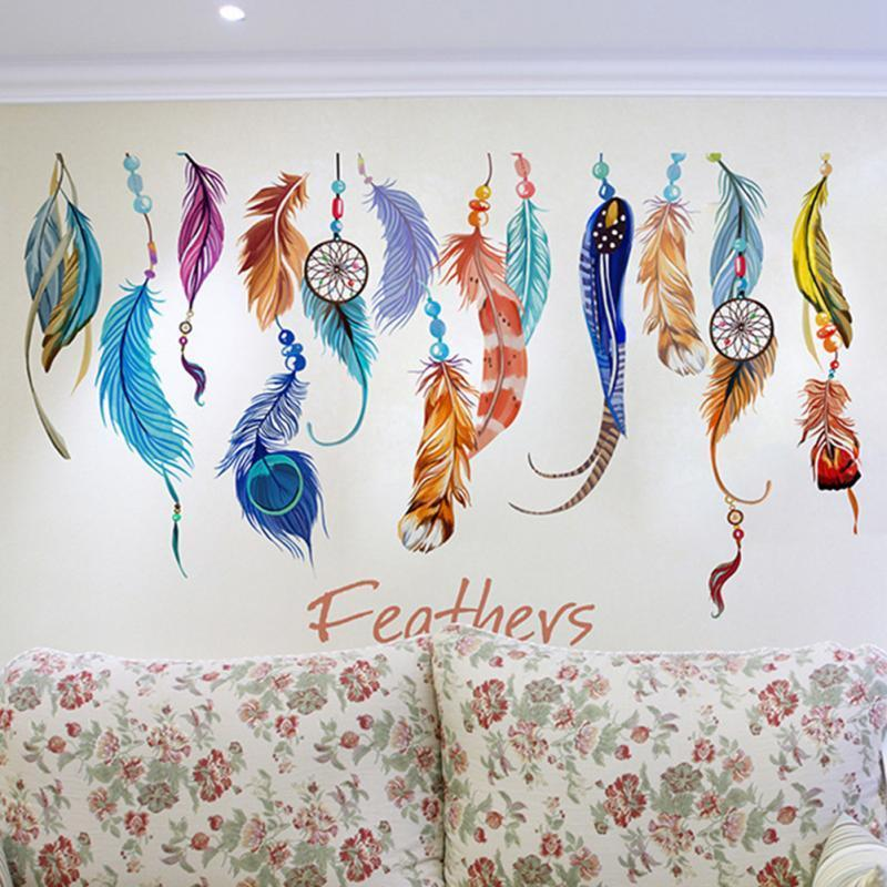 Criativo Fundo Colorido Pena Adesivos De Parede Sala de estar Decoração Boa Sorte Removível DIY Mural