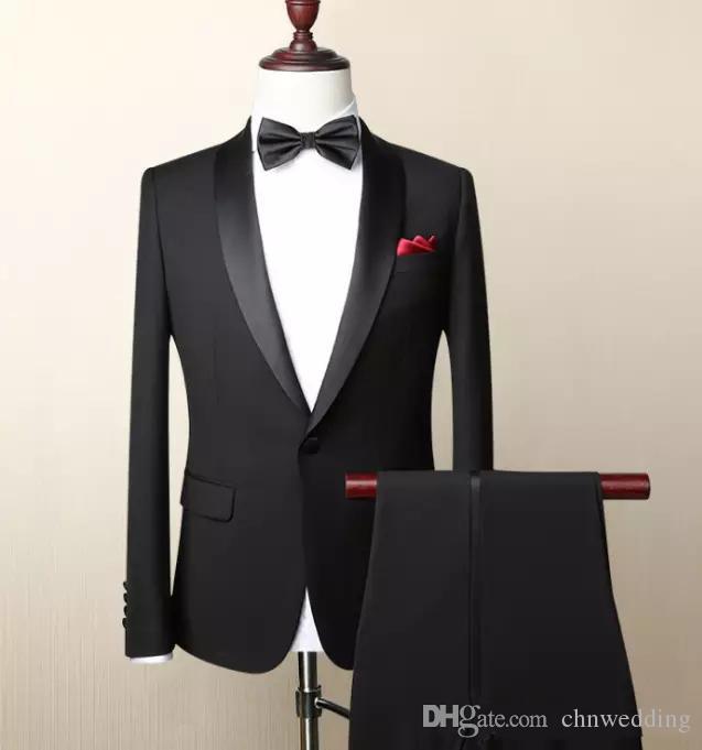 Özel Siyah Slim Fit Erkekler 2018 Düğün Damat smokin Balo Wear (ceket + pantolon) En İyi Erkek Blazer Takımları