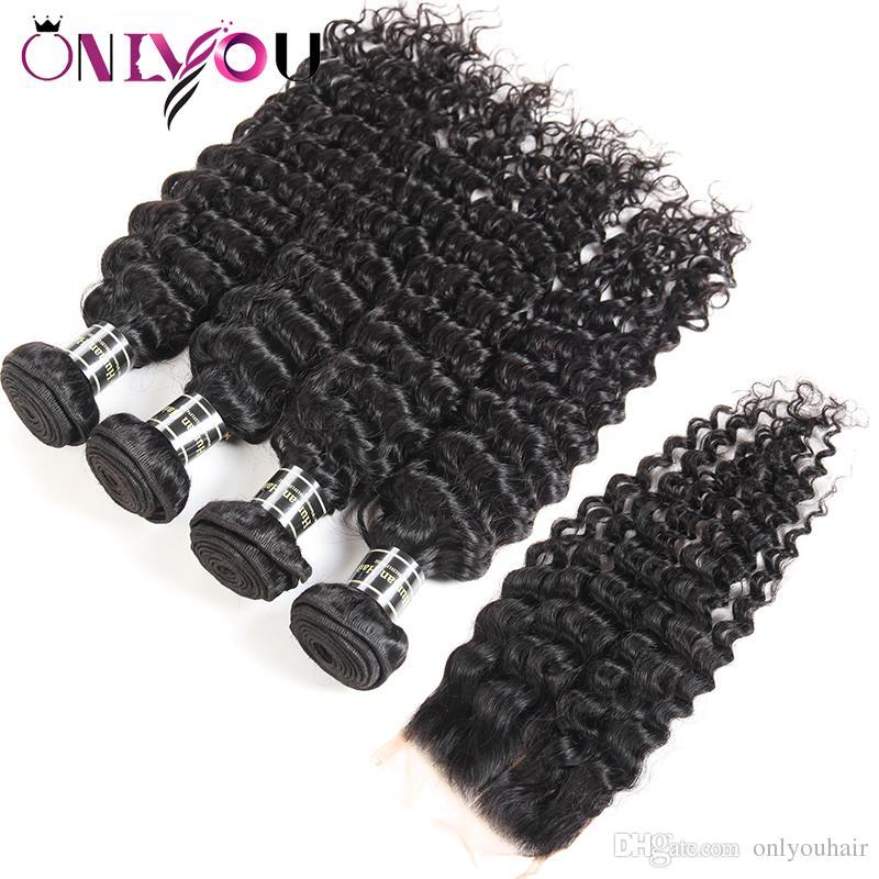 Brésilienne profonde vague Vierge Cheveux Fermeture Kinky Bouclés Armure de Cheveux Humains Faisceaux avec Fermeture Droite 4 Faisceaux et Tresses Cheveux Trames En Gros