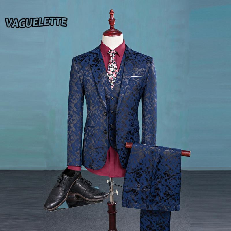(Blazer + Pantalon + Gilet) Costume De Mode Hommes Shine Motif De Luxe Hommes Stage Porter Pour Chanteur Slim Fit Hommes Costumes De Mariage Vêtements M-3XL