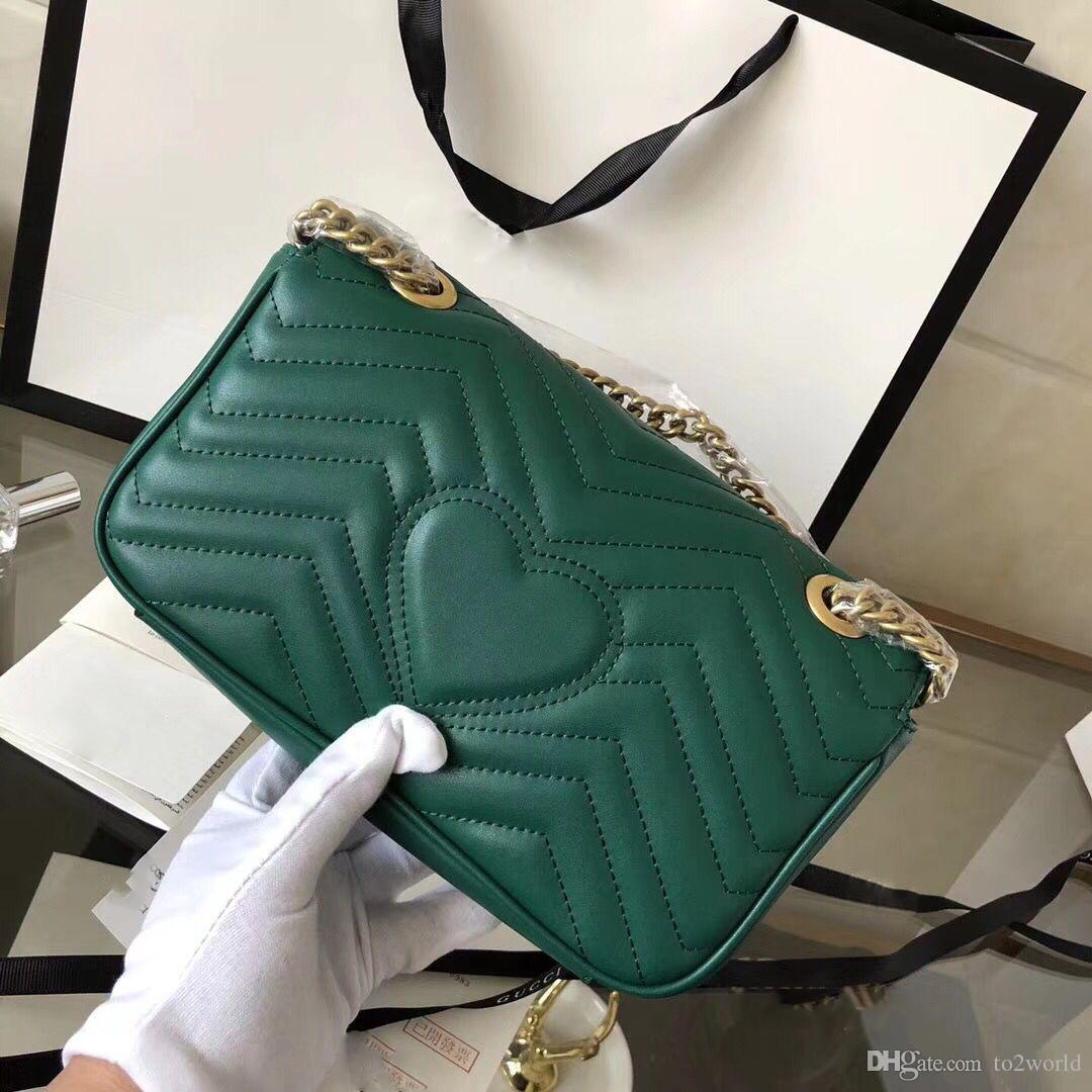 Cadena de cuero suave de cuero partido 26cm Bolso Marnont Bandolera gran volumen Marmont monedero verde blanco rojo envío gratis con bolsa de polvo
