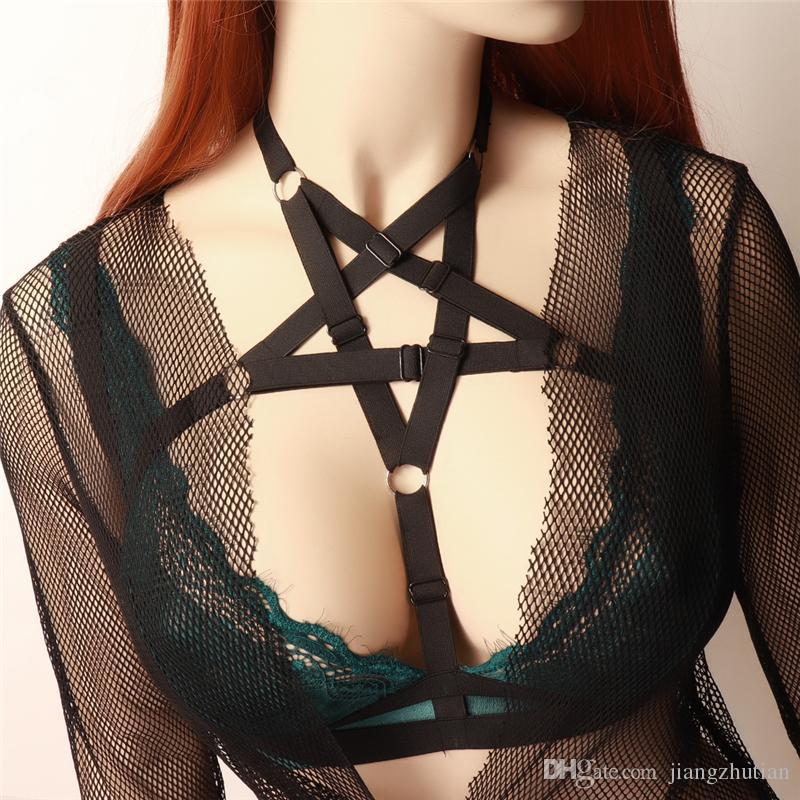 Kadınlar Vücut Koşum Sexy Lingerie Siyah Kutup Dans Goth Koşum Sutyen Fetiş Kölelik Elbise Giymek Tops