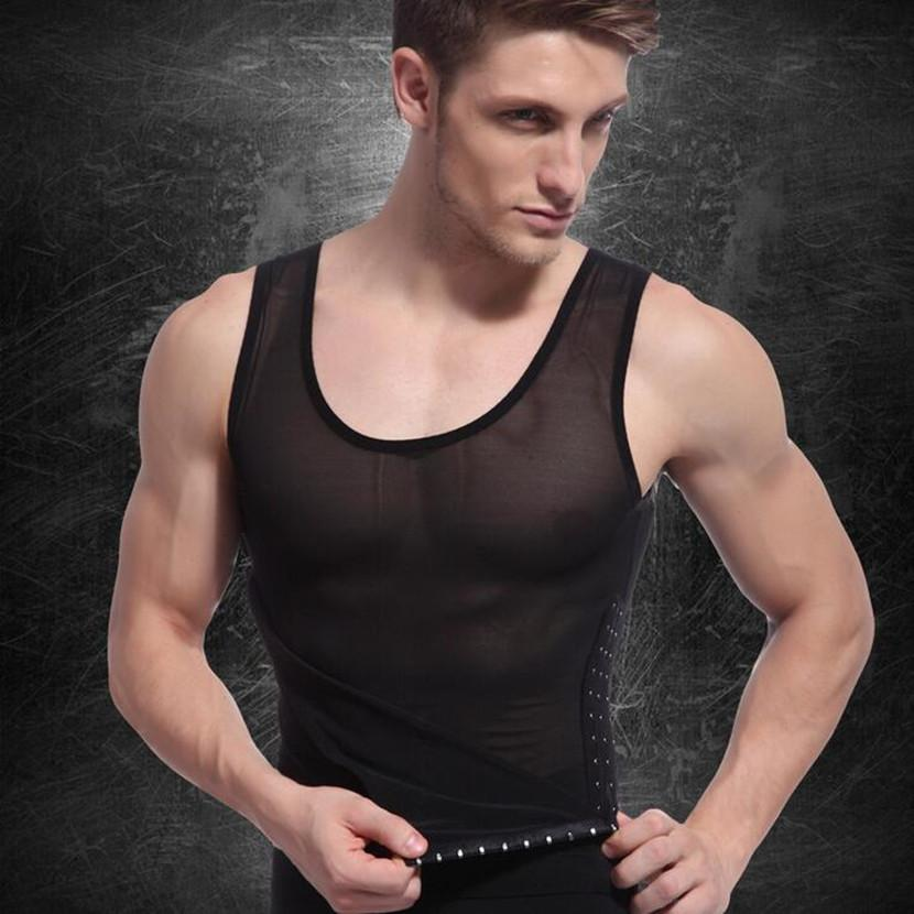 Chest hot Gynecomastia body shaper tops Compression men undershirt slimming beer belly tummy trimmer shaper sleeveless shirts