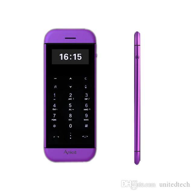 Original Anica T5 MP3 FM double carte SIM téléphone portable bluetooth dialer OLED écran tactile touche de synchronisation anti-perdue mini carte de crédit cellulaire téléphone mobile
